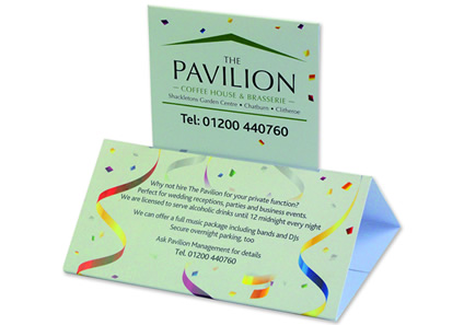 Tent Toppers and Prism Cards, Custom printed Tent Card